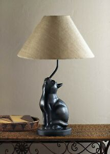 Curious Black Polyresin Cat Charming Table Lamp Indoor Decor