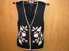 Jaclyn Smith Black, Gold Trim Button Vest Metallic Floral Acrylic Blend Size M