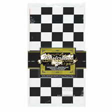 Black & White Checkered Racing 50's Diner TABLECOVER Cloth Birthday Party Decora