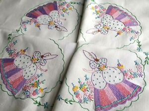 Vintage hand embroidered Irish linen and lace tablecloth ~ Crinoline Ladies