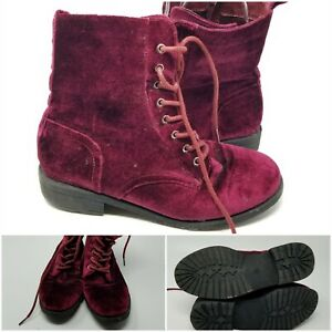 Pink Velvet High Lace Up Side Zipper Boot Shoes Womens Size 6