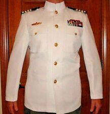 NAVY TOP GUN OFFICER CHOKER DRESS WHITE UNIFORM JACKET USN NAVAL
