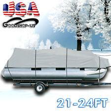 21-24ft 600D Heavy Duty Waterproof Fabric Trailerable Pontoon Boat Cover Gray
