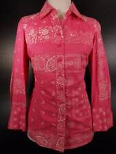 Beautiful Women's PXS Petite XS Coldwater Creek Pink Paisley Fitted LS Blouse