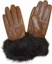 Real Fox fur, Leather Gloves (XL) Women's Gloves Warm Lined Winter Dress Gloves