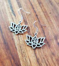 Ohm Yoga Lotus Flower Sterling Silver Hook Earrings Gypsy Bohemian Fashion