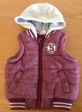 Baby toddler fleece lined red and grey body warmer with hood up to 3 months