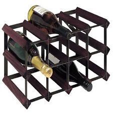 RTA 12 Bottle Wine Rack Traditional Dark Stained Pine Black Steel WNRK4300