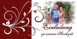 70 Einladungskarten Hochzeit Einladungen bordeaux rot 21 x 10,5 Hochzeitskarten