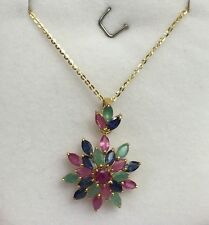 14k Solid Yellow Gold Flat Rolo Chain & Cluster Flowers, Mix Stones Pendant.