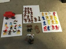 Large Lot Of Mpc-Marx-H.K. Toys Cowboy Indians-Express Wagon