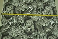 """By-the-Half-Yard, 44"""", Lions & Zebras on Gray Quilter's Cotton, A. Henry, M6713"""