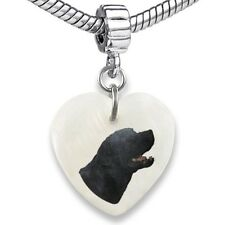 Labrador Retriever Heart Mother Of Pearl European Bracelet Charm Bead EBS222