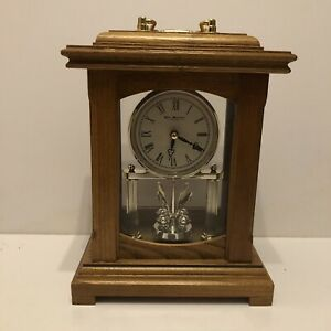 Traditional WM Widdop Anniversary Style Wood Mantle Clock With Pendulum