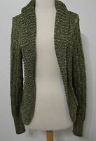 Marciano Avocado Olive Gold Thread Rayon Blend Open Front LS Sweater L