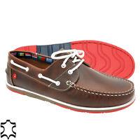 Homme Chaussures Bateau Cuir Mocassin Braun - Véritable Lacets & Genähte Semelle