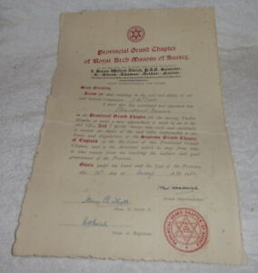 Vintage Masonic certificate, Royal Arch, Province Sussex dated 1952