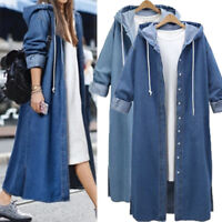 Womens Hooded Blue Denim Trench Coat Jacket Ladies Loose Jeans Long Outerwear UK