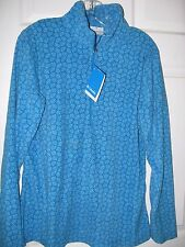 Columbia half-zip microfleece sweater women's L patterned blue