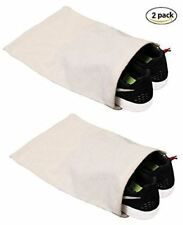 Shoe Storage Bags 100% Cotton w/Drawstring For Men/Women in Natural (Set of 2)