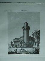 1845 Zuccagni-Orlandini Veduta del Castello di Pollenza, Polens Bra Piemonte