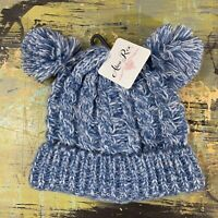 NWT Alexa Rose Girl's One Size Fits Most Blue White Beanie Hat 2 Pom Poms