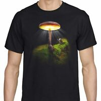 Occult Magic Mushroom T shirt Fantasy Quirky Novelty Elephant Black Men's tee