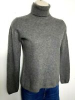 DEANE & WHITE 100% PURE CASHMERE WOMENS JUMPER SWEATER XS GREY HIGH NECK 226