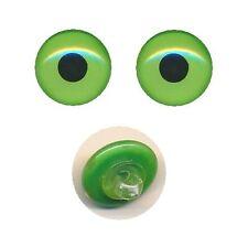 2 Glasaugen mit Glasöse zum Annähen grün hintermalt 14 mm