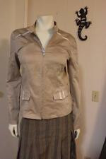 BYE France Ultra Sophisticated Beautifully Constructed Zip Front Beige Jacket S
