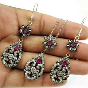925 Sterling Silver Ruby CZ Earring Pendant Jewelry Handmade Bohemain Set RS7