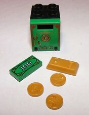 Lego SAFE with Pearl Gold Ingot, Pearl Gold Coins & 100 Dollar Bill Money NEW