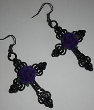 Large Gothic Earrings *Black cross*Purple rose*pagan*steampunk*emo*Wiccan*