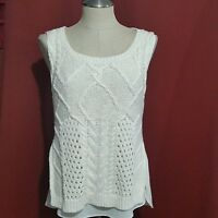 ANTHROPOLOGIE  MOTH Cable knit Layered  SLEEVELESS  SWEATER TOP BLOUSE (A7)