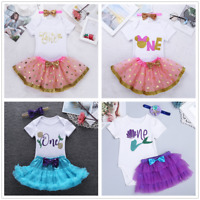 3pcs Infant Girls Romper Tutu Dress Headband Outfit 1st Birthday Party Clothes