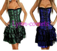 Burlesque Moulin Rouge Lace Up Corset Skirt Fancy Dress Tutu Outfit Hen Costume