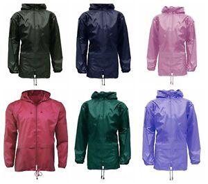 Kids Boys Girls Cagoule Light Rain Jacket Coat Hooded Pac A Mac Showerproof Mac