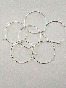 100 Quality Silver Plated Wine Glass Charm Rings/Earring Hoops Wedding Hen Party