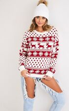 WOMENS CHRISTMAS JUMPER LADIES UNISEX REINDEER SNOWFLAKE KNITTED XMAS JUMPER TOP