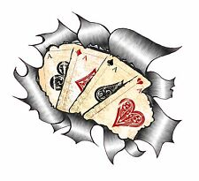 Ripped Torn Metal Look Design & 4 Aces Playing Cards Retro Dub vinyl car sticker