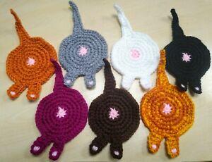 Cat Bum / Butt Coasters - Crochet & Handmade - Various Colours - Present / Gift