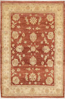 4X6 Hand-Knotted Oushak Carpet Traditional Rust Fine Wool Area Rug D46711