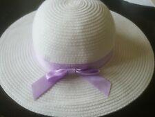 NWT JANIE & JACK size 4 5 Large Straw like purple sash Sun HAT 2012 collection