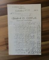 Old Irish document receipt - D Coyle - Rosemount  Londonderry - 1934