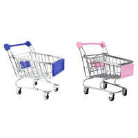 2 Pieces Miniature Metal Grocery Shopping Cart/ Doll Size/ Home Decoration