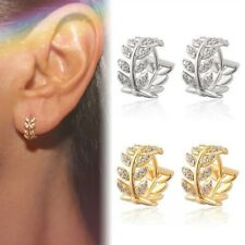 Women Leaf Crystals Hoop Huggie Earrings Dangle Rhinestone Ear Studs Earring