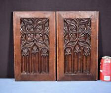 *17th Century Pair of French Antique Gothic Revival Panels in Solid Oak Wood