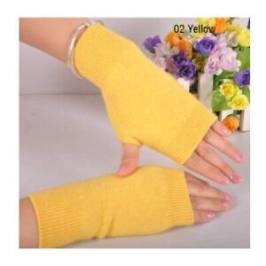 Winter Knitted Short Solid Color Elastic Fingerless Gloves For Men And Women
