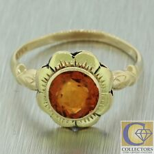 Antique Victorian Estate 10k Yellow Gold Citrine Flower Floral Cocktail Ring