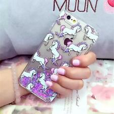 Luxury Unicorn Bling Liquid Glitter Case Cover For Apple iPhone X SE 5S 5C 6S 7